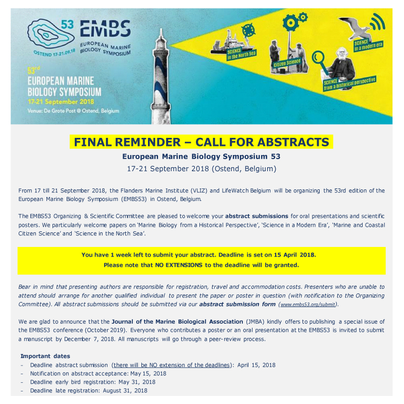 EMBS 53: FINAL REMINDER – CALL FOR ABSTRACTS